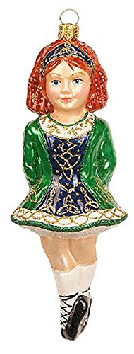 Pinnacle Peak Trading Company Irish Dancer Girl Polish Glass Christmas Tree Ornament Decoration Ireland