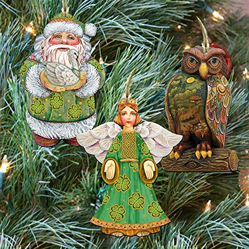 G. Debrekht Christmas Ornaments – Wooden Christmas Tree Ornaments – Christmas Decorations for Holiday – Set of 3 (Irish Best Wishes)
