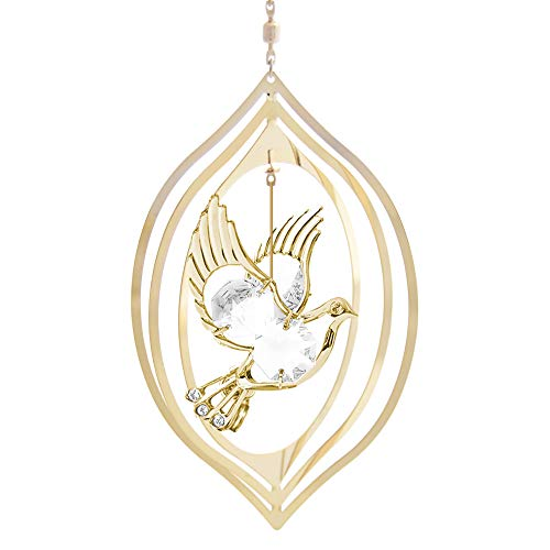 Mascot Crystal Delight Collection 24K Gold Plated Dove Pointed Oval Ornament – Swarovski Crystal Best for Valentine's Day Mother's Day Birthday, Graduation Wedding Christmas Love Ones Home Decors