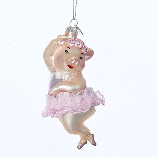 Kurt Adler 4.75″ Noble Gems Glass Dancing Pig Ornament