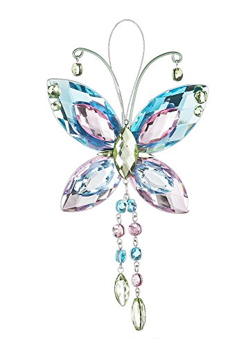 Butterfly Crystal Expressions with Tassels 7 Inch Acrylic Hanging Figurine-Blue/Pink