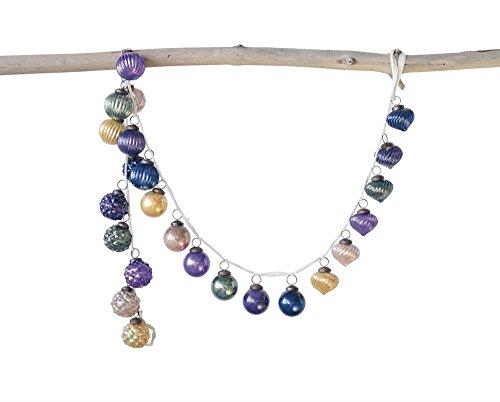 Creative Co-Op Multicolor Glass Ornament Jewel Tones Garland