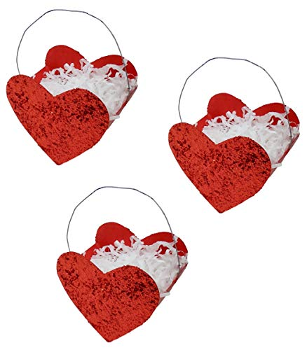 Bethany Lowe Valentines Day Tin Glitter Heart Bucket Mini Ornaments Set of 3