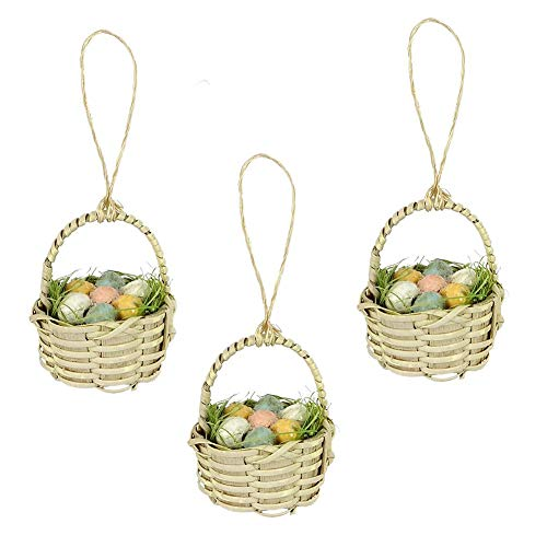 Bethany Lowe Mini Basket of Pastel Easter Eggs 3″ Tall Ornament – Set of 3