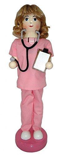 Santa's Workshop Nurse in Pink Scrubs Wooden Christmas Nutcracker 14 Inch Nursing Decoration New