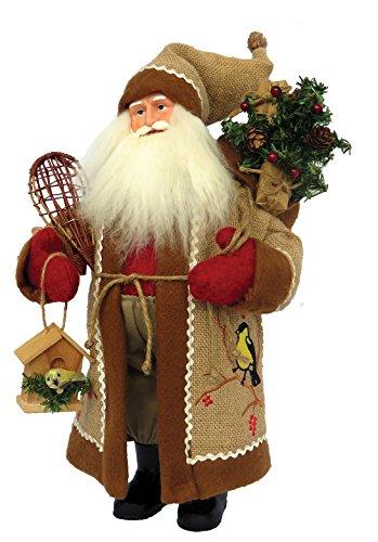 Santa's Workshop 7630 Chickadee On Burlap Santa Figurine, 15″, Multi