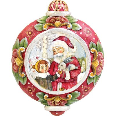 G. Debrekht Santa with Boy Scenic Ornament, 3.5″