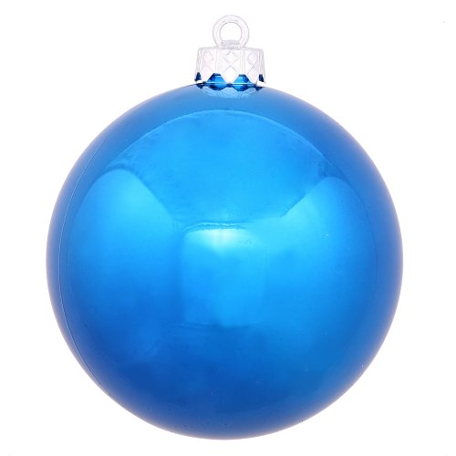 Vickerman Shiny Finish Seamless Shatterproof Christmas Ball Ornament, UV Resistant with Drilled Cap, 4 per Bag, 4.75″, Blue
