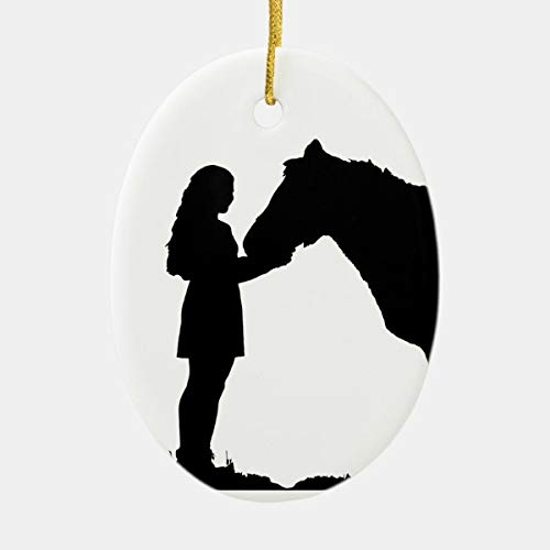 A Girl Her Horse Love Silhouette Art Ceramic Ornament