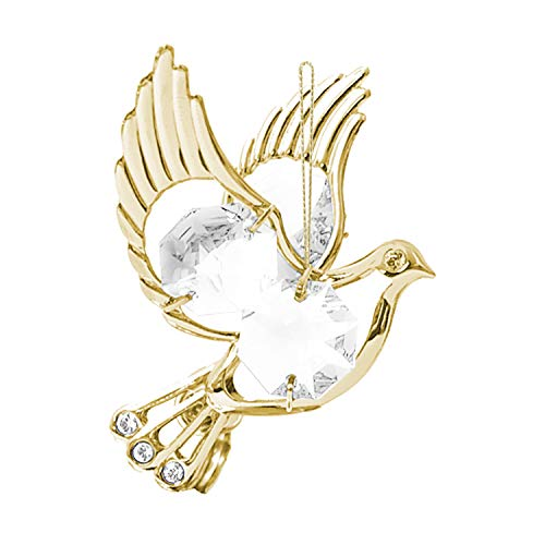 Mascot Crystal Delight Collection 24K Gold Plated Hanging Sun Catcher or Ornament Dove with Clear Swarovski Austrian Crystal Best for Valentine's Birthday Graduation Christmas Love Ones Home Decors