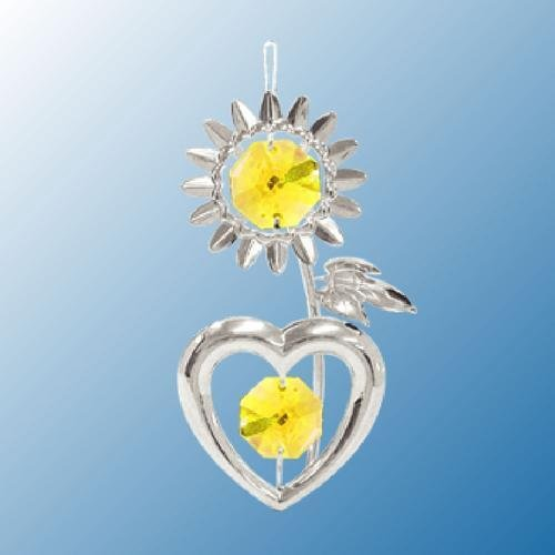 Hanging Sun Catcher or Ornament….. Sunflower in Yellow Swarovski Austrian Crystals