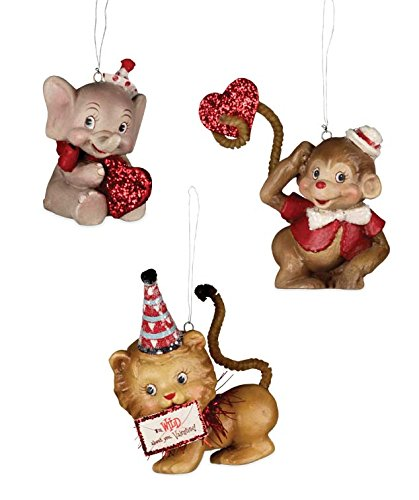 Bethany Lowe Wild About You Valentines Day Elephant Monkey and Lion Ornament Set of 3