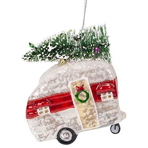 Midwest Gift Glass Camper Ornament with Tree