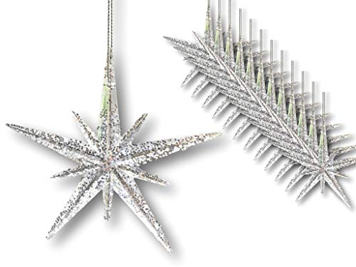 BANBERRY DESIGNS Christmas Moravian Stars – Set of 12 Acrylic Star Ornaments with Glitter – 4 ½""