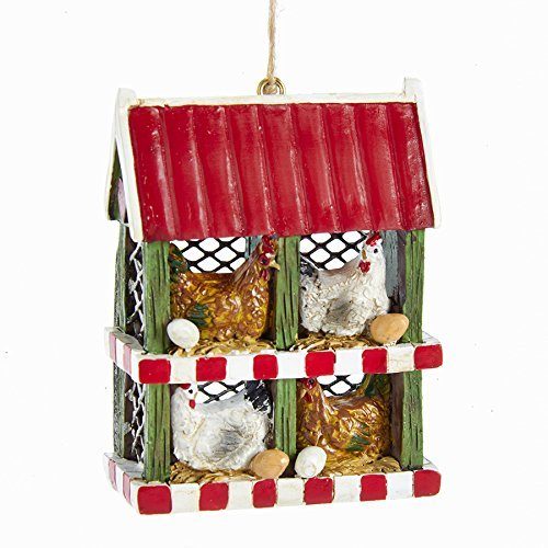 Kurt Adler Chicken Coop with Chickens and Eggs Ornament