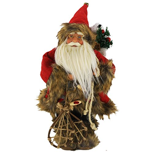 WEWILL 13.5 Inch Christmas Santa Claus Figurine Ornaments Decorations Traditional Standing Father Collectible Figure Decoration with Gift Bag