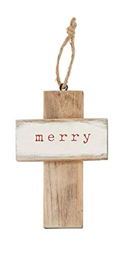 Mud Pie Merry Wood Cross Ornament