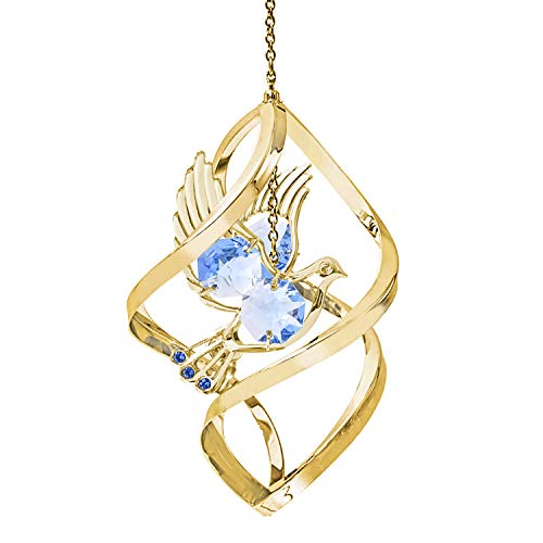 24K Gold Dove Spiral Ornament – Blue Swarovski Crystal