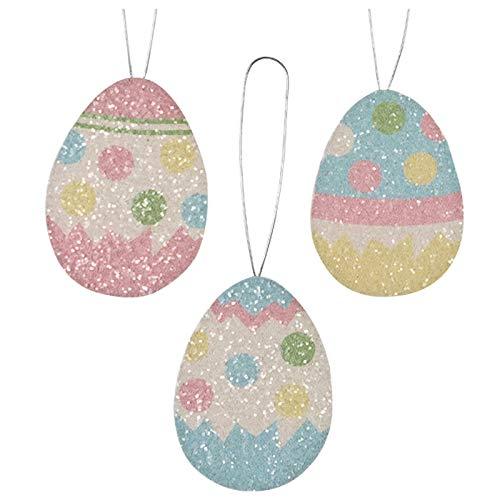 Bethany Lowe Set/3 Easter Eggs Polka Dot Tin Spring Retro Vintage Style Decor Ornaments