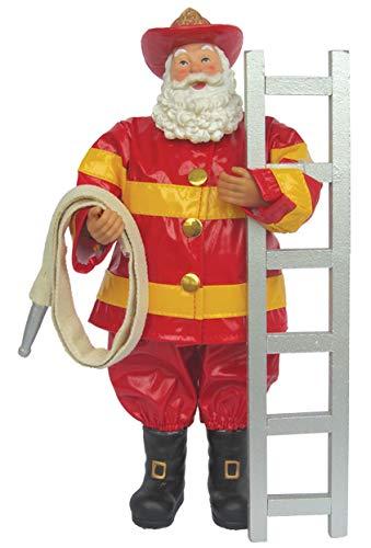 Santa's Workshop 12″ Fireman Santa Tabletop Accent Décor, One Size, Red