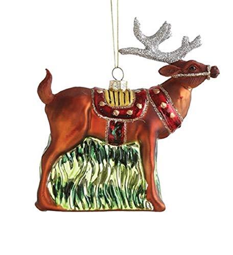 Creative Co-op Santa's Reindeer Blown Glass Hanging Ornament