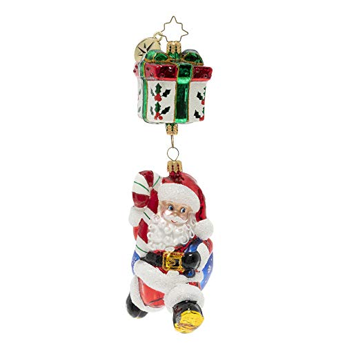 Christopher Radko Hand-Crafted European Glass Christmas Ornament, A Parachuting Present
