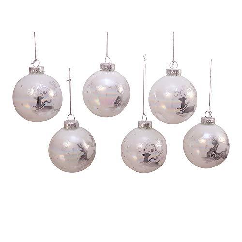 Kurt Adler Kurt S. Adler 80MM Iridescent with Silver Reindeer Glass Ball, 6 Piece Box Ornament, White