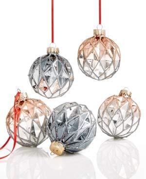Holiday Lane Set of 5 Glass Ball Ornaments