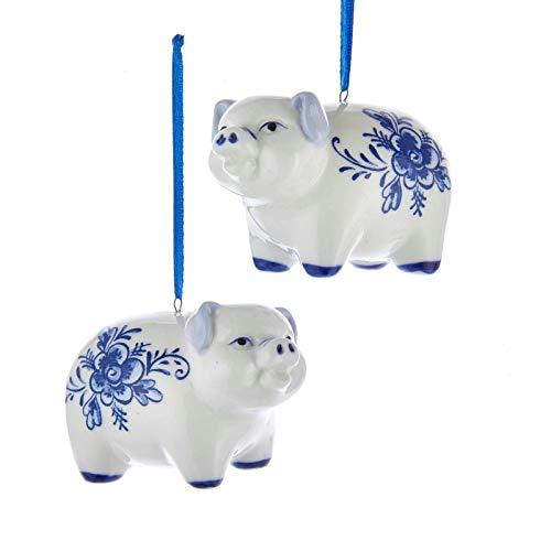 Kurt Adler Pig Delft Blue and White 3 inch Porcelain Ceramic Christmas Ornaments Set of 2