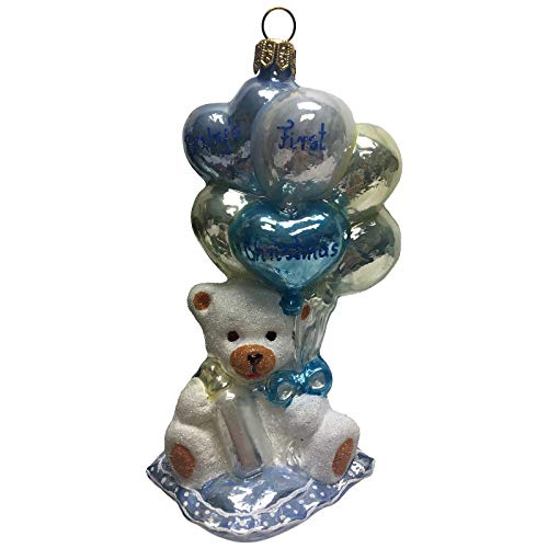 Pinnacle Peak Trading Company Blue Baby Boy's First Christmas Teddy Bear with Balloons Polish Glass Ornament