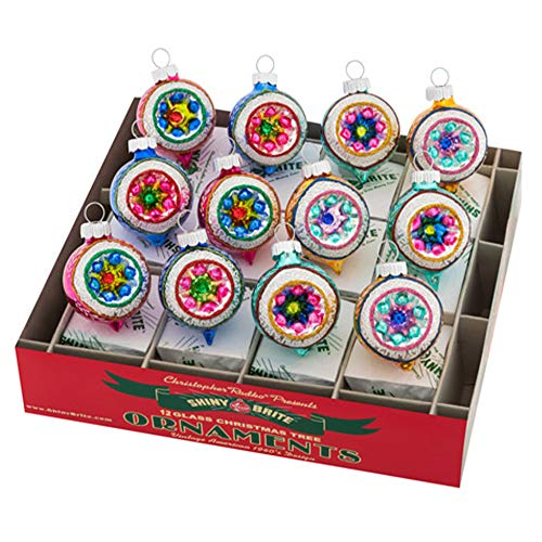 Christopher Radko Xmas Confetti Reflector Rounds Set of 12