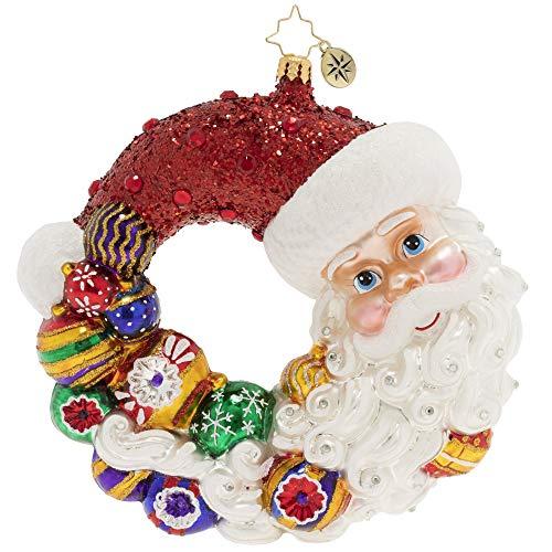 Christopher Radko Hand-Crafted European Glass Christmas Ornament, Santa Comes Full Circle Wreath