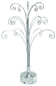 Chrome Finish Ornaments Rotating Display Tree