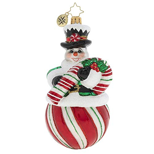 Christopher Radko Hand-Crafted European Glass Christmas Ornament, The Candy (Snow) Man