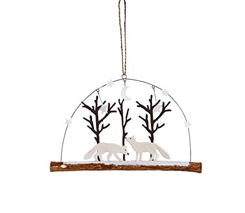 Creative Co-op Metal Fox & Trees on Driftwood Branch Ornament, White