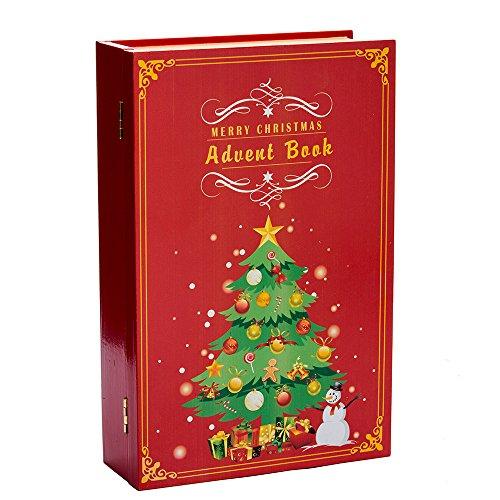 Kurt Adler 11-Inch Wooden Christmas Advent Calendar Book, 25 Piece