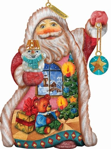 G. Debrekht Teddy Santa Ornament, 5″