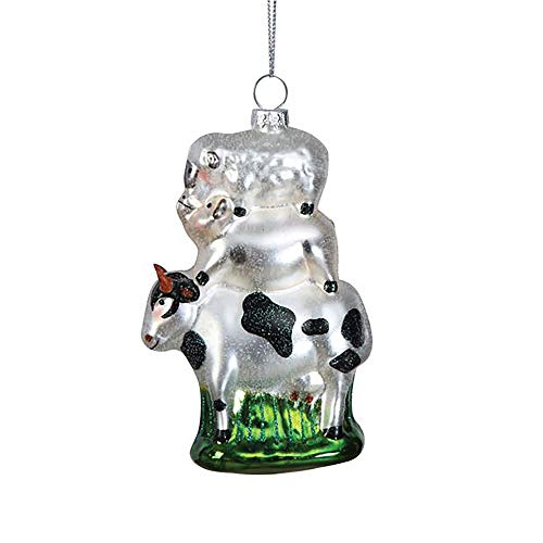 Creative Co-op Animal Stack Winter White 5 inch Hand-Painted Glass Christmas Ornament