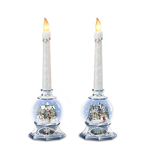 The Bradford Exchange Thomas Kinkade Snowglobe Candleholders and Flameless Candles Light Up