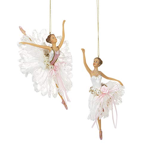 Midwest Glitter Pink Silvertone Ballerinas 4.5 inch Resin Decorative Christmas Ornament, Set of 2