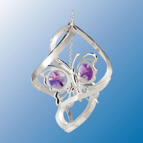 Chrome Plated Butterfly in Spiral … Hanging Sun Catcher or Ornament….. With Purple Color Swarovski Austrian Crystal