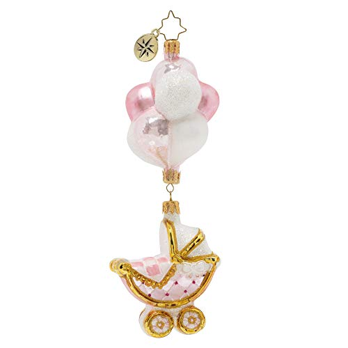 Christopher Radko Hand-Crafted European Glass Christmas Ornament, Baby Girl Buggy & Balloons