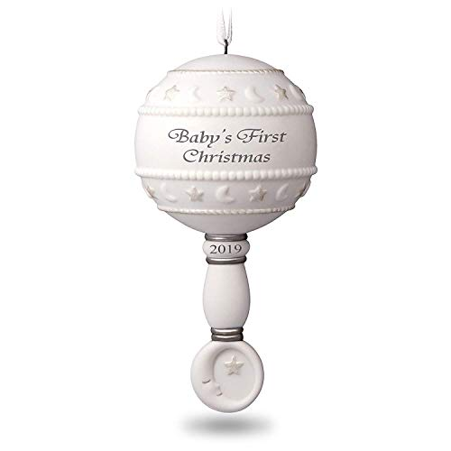 Klikel Babys First Christmas Ornament 2019 – White Rattle Ornament – Metal Material