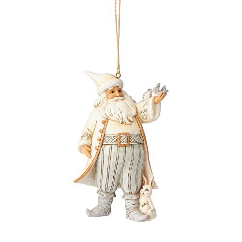 Enesco Jim Shore Heartwood Creek White Woodland Santa with Bird Hanging Ornament, 4.75″, Multicolor