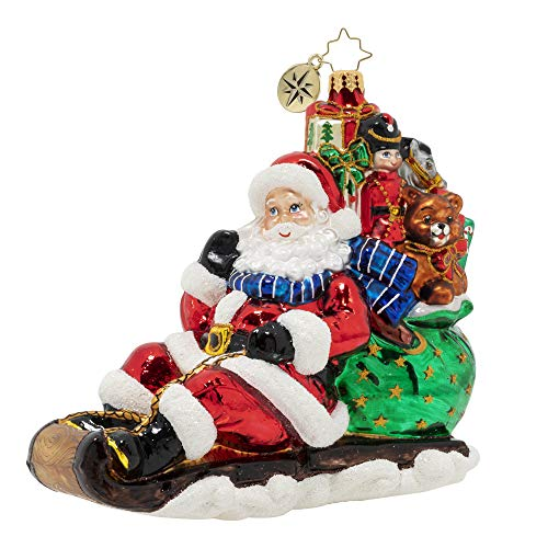 Christopher Radko Hand-Crafted European Glass Christmas Ornament, Timely Toboggan Delivery!