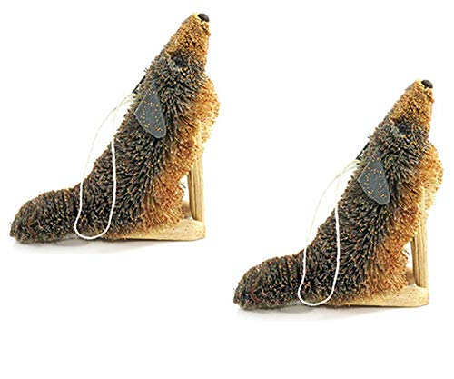 Holiday Lane Bristle Brush Buri Holiday Christmas Ornaments, Gray Wolf Coyote (Set of 2)