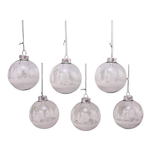 Kurt Adler Kurt S. Adler 80MM Clear with White Tree Design Glass Ball, 6 Piece Box Ornament, Silver