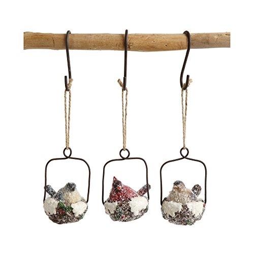 Creative Co-op Set of 3 Snow Covered Birds Nest Ornaments