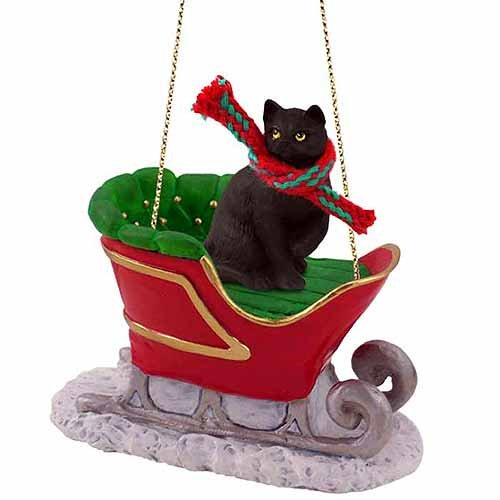 Conversation Concepts Tabby Cat Sleigh Ride Christmas Ornament Black Shorthaired – Delightful!