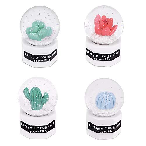 ANQIA Mini Succulent Plants & Cactus Snow Globe with Led Light,Mini Christmas Snowglobe 2 inch Idea Gift for Christmas Thanksgiving 4 Pcs